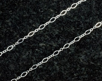10 feet - Sterling Silver Long And Short Oval Chain