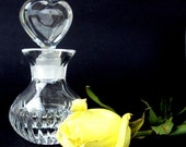 VALENTINES SALE Vintage Cut Crystal,Clear Glass, Perfume Bottle, Glass Heart Stopper,Lead Glass,Vanity,Valentines Day,Saks, Italy