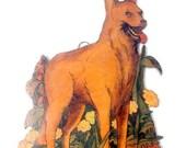 VALENTINES SALE Vintage Wooden Transfer Ornament, Image Photo, Decoupage, Cutout German Shepherd Dog,Flowers, Lady Bug,Home Decor,Ornament K