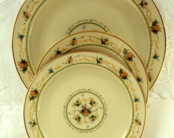 Vintage Noritake Fine China,Normandy Pattern,1970sJapan,Cream Floral,3pc ,Tea Party,Bridal,Dining Serving,Collectible,Saucer Bread Salad
