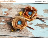 SALE SALE SALE Flower hair pins, Set of 2 flower pins, bobby pins with leaves, tagt team, gift for her