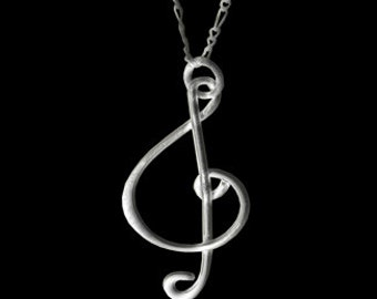 Sterling Silver Music Note Pendant W/Necklace
