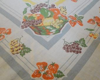 Vintage Linen Table Cloth Fruit Square 48 X 48