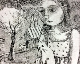 Farm Girl Etching by Artist - Lora Shelley