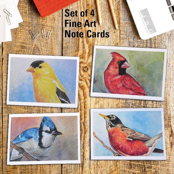 Wisconsin Primary Birds Fine Art Note Card Set of 4