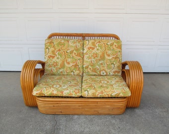 Mid Century Rattan Tiki Furniture Loveseat, Bentwood Pretzel Style Two Seater Chair