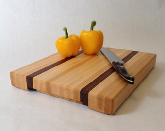Large Wood Cutting Board, Hard Maple and Black Walnut #160402