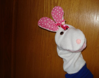 white fleece Rabbit Bunny hand Puppet
