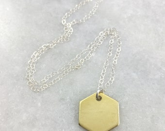 Dainty Mixed Metal Hexagon Necklace | N31624