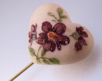 MOTHERS DAY SALE Violet Flower Heart Porcelain Stick Pin Hat Pin Vintage Jewelry Jewellery