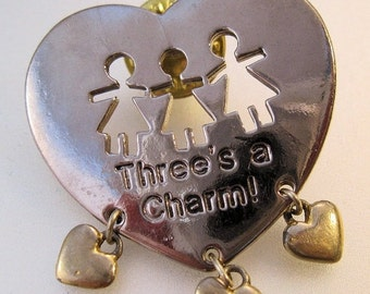 BIGGEST SALE of the Year Three's a Charm Heart Brooch Pin Abbey Press Vintage Costume Jewelry Jewellery
