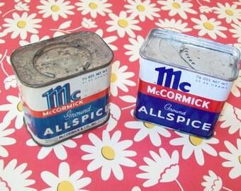 SALE - 2 McCormick Spice Tins, metal, 1950s, 1960s