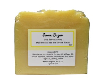 LEMON SUGAR, Soap, Cold Process Soap, Vegan Soap, Natural Soap, CP Soap, Cocoa Butter, Shea Butter, Soy-N-Suds, Homemade Soap, Scented Soap