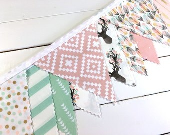 Bunting Banner Flags, Nursery Decor, Aztec Nursery, Tribal Nursery, Home Decor - Blush Pink,Mint Green,Gold, Stag,Feather,Boho,Bucks,Deer