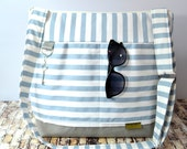 Diaper bags by Darby Mack our 'Leila' bag in Stockholm Blue Stripe /  Washable and durable!  Made in the USA