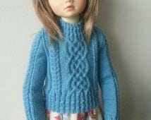 "Intricate cabled sweater in merino laceweight to fit Dollstown DT7, Kaye Wiggs, Kish 16"" and similar sized dolls."