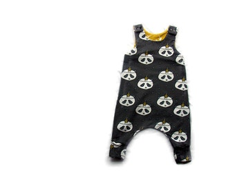 Baby Harem Romper, dungarees,baby clothes in grey Pandas