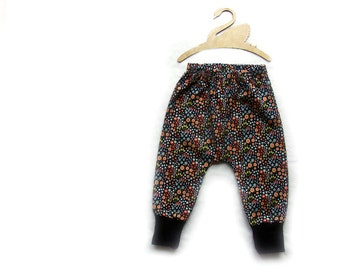 Baby Harem pants, trousers, in navy woodland fabric, size 18-24 m
