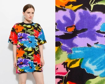 Vintage 80s BOLD Floral Graphic Print Oversize T-shirt Beaded Loose Tunic Cotton Tee Dress XS - L