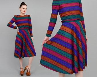 Vintage 70s Striped Dress Set 2 Piece Outfit Full Skirt Long Sleeve Knit Top JEWEL TONE Extra Small XS