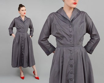 Vintage 50s Gray Shirt Dress Dolman Sleeve Cotton Dress 1950s Full Midi Dress with Pockets Small S