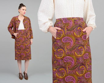 Vintage 60s Skirt Suit Paisley Psychedelic Print 2 Piece Outfit High Waist Pencil Skirt 1960s Retro Ethnic Print Matching Set Medium M