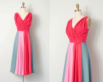 vintage 1970s dress / hot pink 70s colorblock dress / Summer's On!