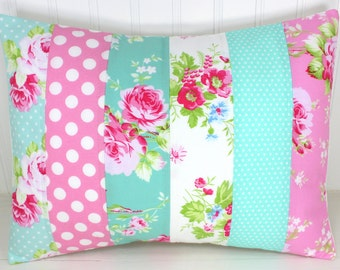 Throw Pillow Cover, Nursery Cushion Cover, Shabby Chic Nursery, 12 x 16 Inches, Carnation Pink, Mint Green, Jade, Flowers, Floral, Roses
