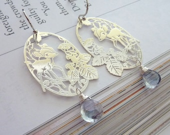 Silver Cutest BAMBI Filigree with Light Blue Gems Earrings