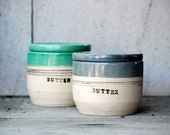 French butter crock, ceramic butter keeper, lidded butter dish
