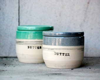 French butter crock -  butter keeper - lidded butter dish - ceramic butter dish - butter crock - rustic modern - housewarming gift