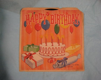 Happy Birthday 45 rpm Record, Tunes for Tots Happy Birthday Vinyl Record with Three Little Kittens and Row,Row,Row Your Boat,Birthday Record