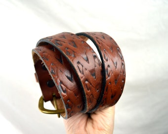 Vintage Tooled Leather Belt - Size 34