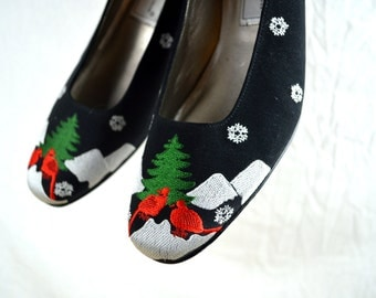 Vintage Christmas Ros Hommerson Holiday Party Winter Red Cardinal Bird Shoes Pumps - Size 8 1/2 N