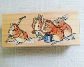 Beatrix Potter Gardening Guinea Pigs rubber stamp