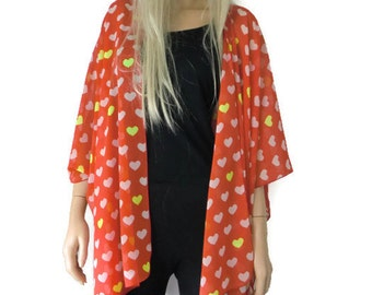 Kimono cardigan -Valentine Hearts-Red and white-oversize chiffon kimono- summer collection- -Gift idea-Layering piece-Many colors