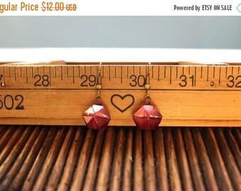 20% off Rock Candy Earrings - Pink and Bronze Bead Earrings - Petite Drop Earrings