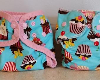 Preemie Newborn Cloth Diaper & Diaper Cover Set-  4 to 9 pounds- Cupcakes- 29006