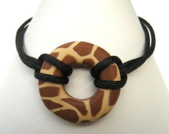 Giraffe Print Bracelet, Giraffe Print Bead, Polymer Clay Bracelet, Black Cord, Bright Copper Clasp, Brown and Tan, 7.5 Inches, Black and Tan