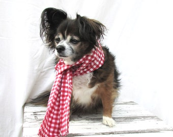Pet Dog Scarf- Red And White Gingham Print Cotton