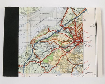 South Wales, South West England #7 - Bristol - Recycled Vintage Map Pocket Notebook with Upcycled Blank Pages