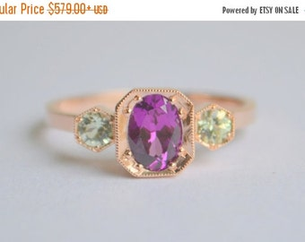 SALE 14 K Rose Gold Three Stone Octagon Ring with Mozambique Purple Garnet and Merelani Mint Garnet
