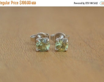SALE 4mm African Sapphire Earrings in 14 K White Gold Low Profile Studs