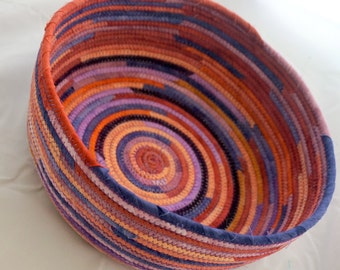 Hand-Dye Fabric Basket in Rusts and Purples