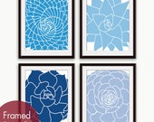 Modern Succulent Botanicals (series C4) - Set of 4 - Art Prints (Hotel Towel, Resort Blue, True Blue, Beach Blue ) Desert Rose Art Prints