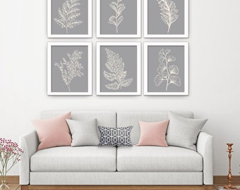 Fields of Forest (Series 6A) Set of 6- Art Prints (Featured in Soft Cream on Dolphin) Botanical Plant Sketch Art Print