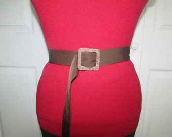 Vintage Dark Brown Fabric Cinch Belt 52 inches long