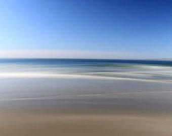 Abstract Seascape, Bright Blue,  Beach Decor, Modern Art, Ocean Photography, 8X10 Mat, Ready to Frame
