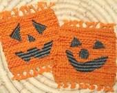 Halloween Coasters - Jack O Lantern Mug Rugs - Set of 2 Eco Friendly Handwoven Coasters - Handwoven Mug Rugs - Orange Coasters