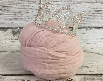 Ready To Ship, Chicaboo newborn stretch wrap & Mini Crown Set, newborn photo props, stretch knit wrap, newborn wrap,